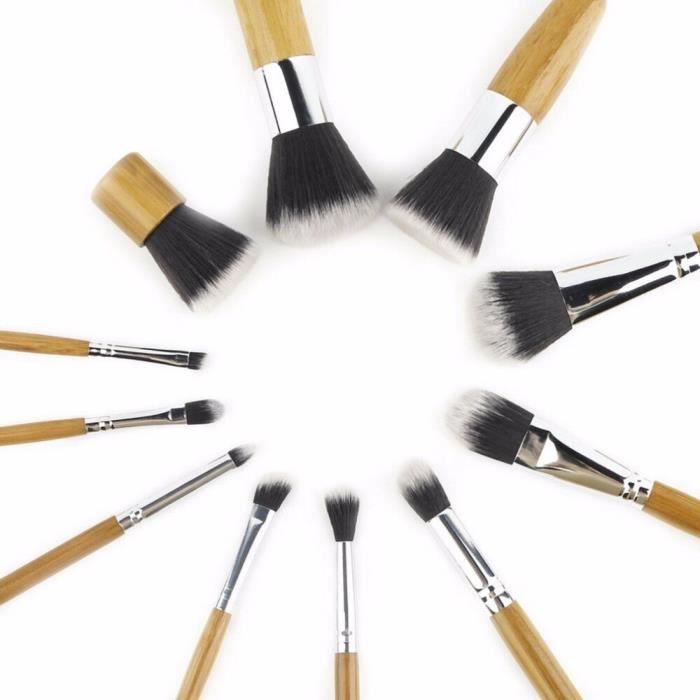 11 pièces-ensemble pinceaux de maquillage professionnels ensemble sourcil Eyeliner fond de teint poudre pinceaux bois cosmétique