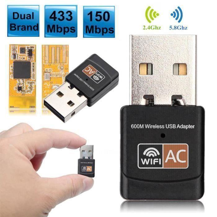 600 Mbps sans fil Usb Wifi adaptateur antenne bi bande 2.4G 5Ghz Lan Usb 2.0 Pc ethernet récepteur 802.11Ac Wifi@Ht