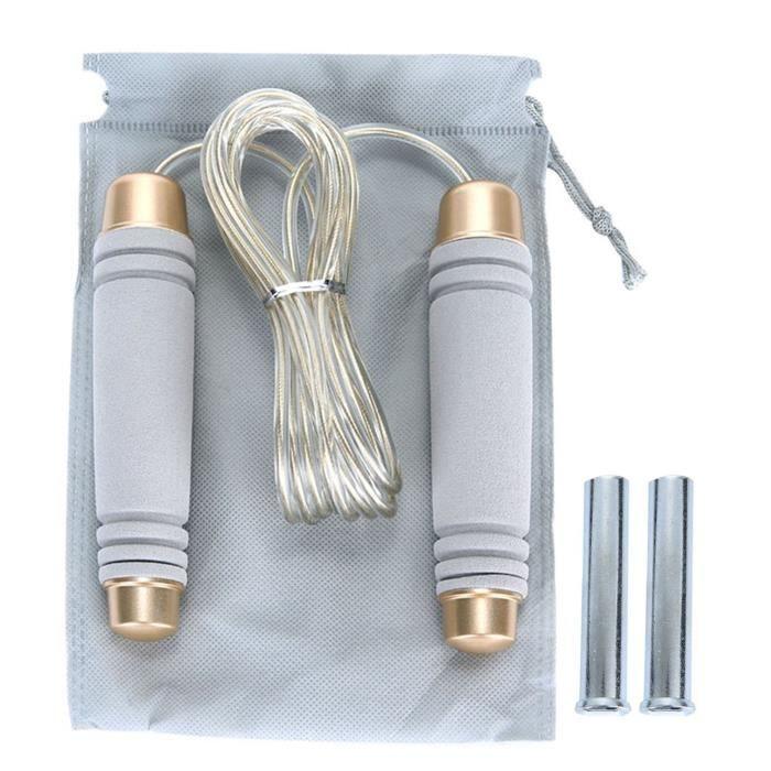 Gris Xcool-art réglable 10 pieds câble de vitesse pondérée corde de saut pour CrossFit Boxing cardio HIIT séances d'entraînement et
