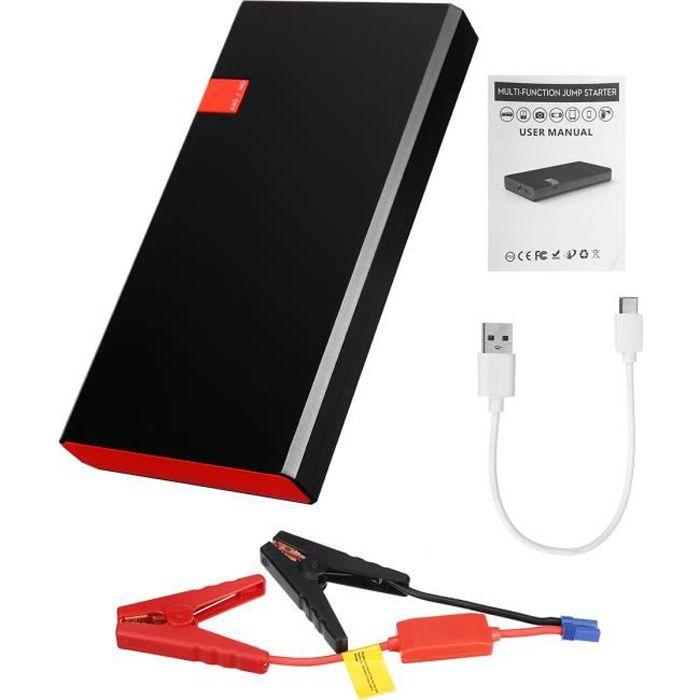 99990mAh Booster Batterie Démarrage Démarreur 12V Éclairage d'urgence USB Chargeur Voiture Starter Noir et Rouge