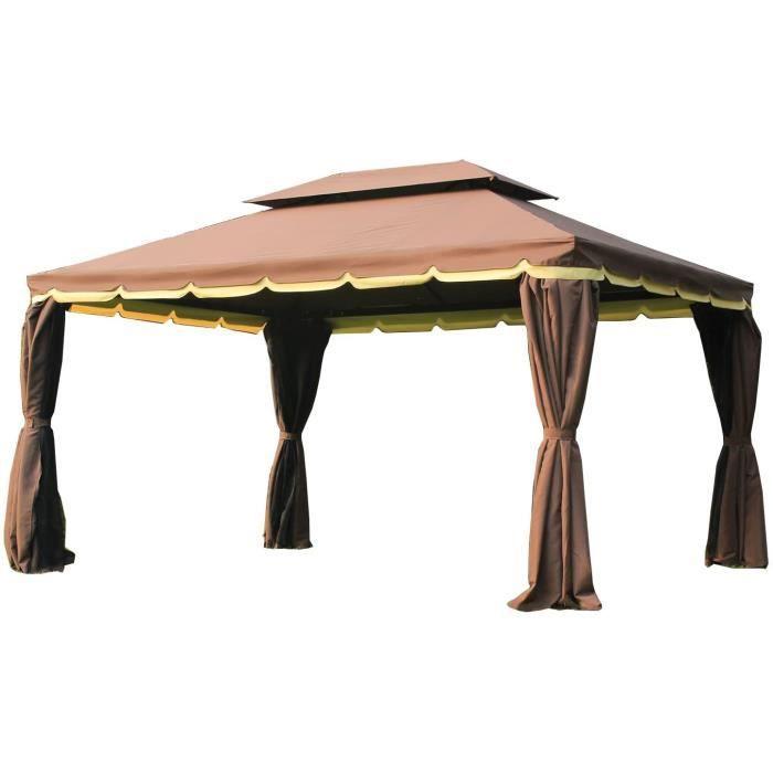 Abri de camping Outsunny Tonnelle Barnum pavillon de Jardin Style Colonial Double Toit Toile moustiquaires et Toiles Amovibles 3306