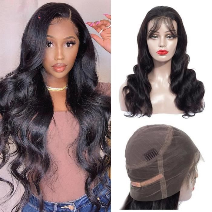 LUCKFEN 12- Perruque Bresiliens Ondulé 360 Lace Wig Grade 10A Cheveux Humains Naturel Wig