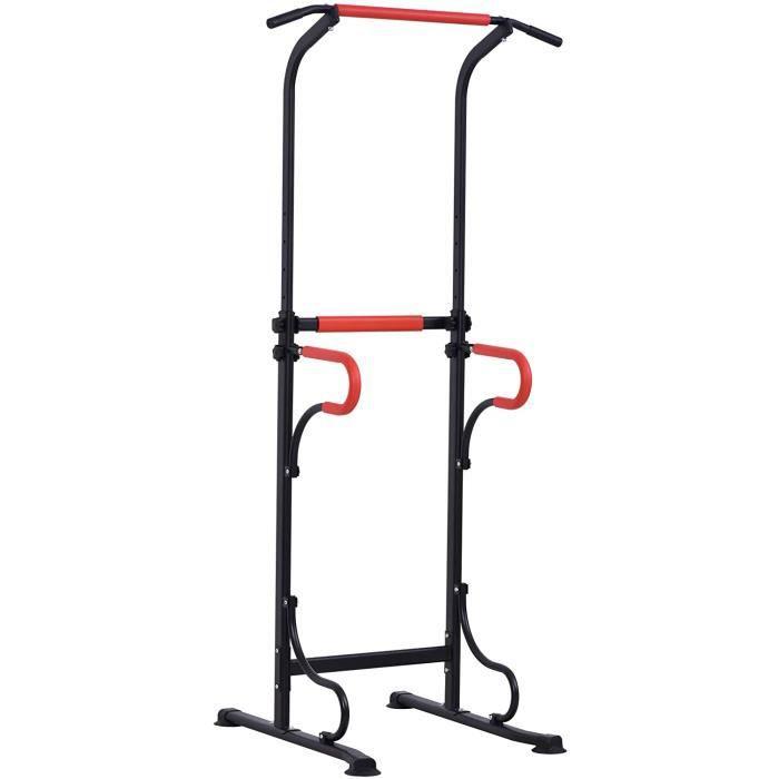 DIP STATION M Station de Musculation Multifonctions Barre de Traction Chaise Romaine Hauteur reacuteglable Acier Noir Rouge99