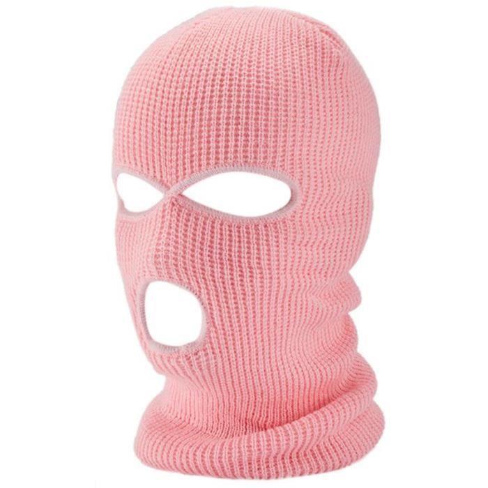 Masque de cagoule tricoté à 3 trous pour homme et femme, casquette de Cosplay, de couleur unie, chau G
