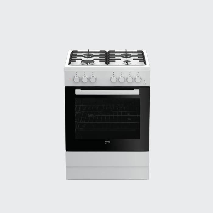Beko FSST62110DW, Cuisinière, Blanc, boutons, Rotatif, En haut devant, Cuisinière à gaz, Moyenne