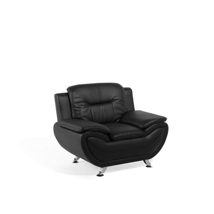 Beliani - Fauteuil en simili-cuir noir LEIRA