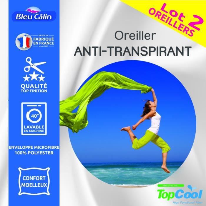 Lot de 2 oreillers Anti transpiration Topcool 60 x 60 cm -Bleu Calin-
