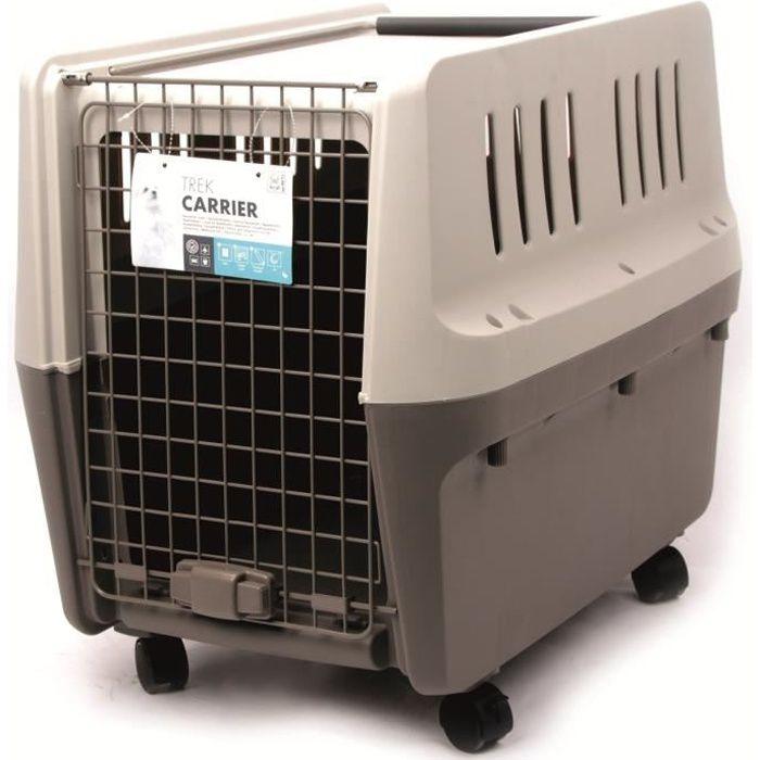 M-PETS Cage de transport Trek M - 71x52x55cm - Gris clair et foncé - Pour chien