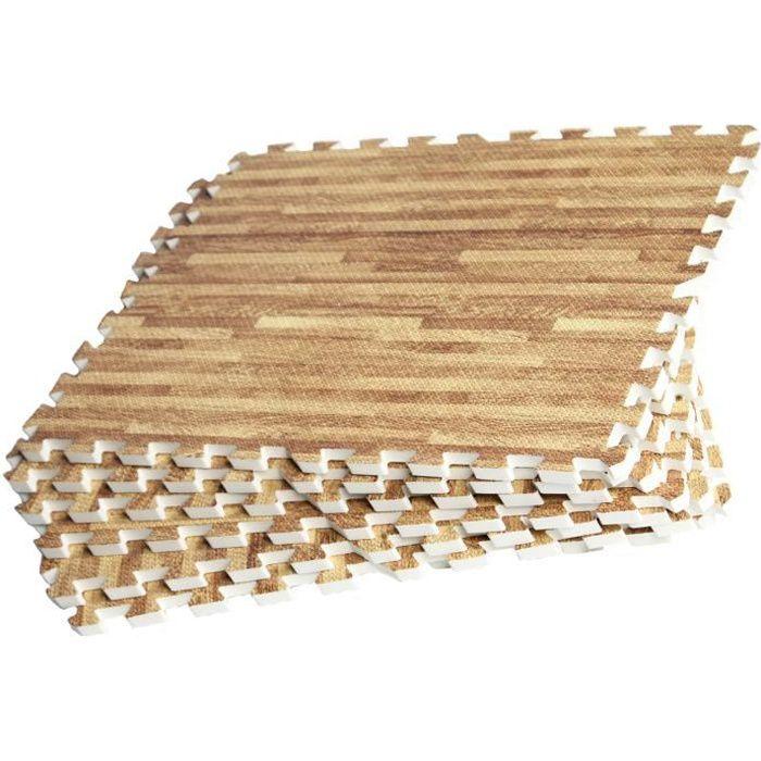 8 dalles carrées de protection - 1,2 cm d'épaisseur - Couleur bois clair