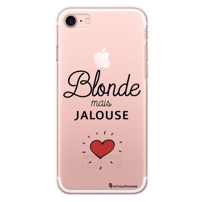 Coque iPhone 7 Plus / 8 Plus rigide transparente Blonde mais jalouse Ecriture Tendance et Design La Coque Francaise