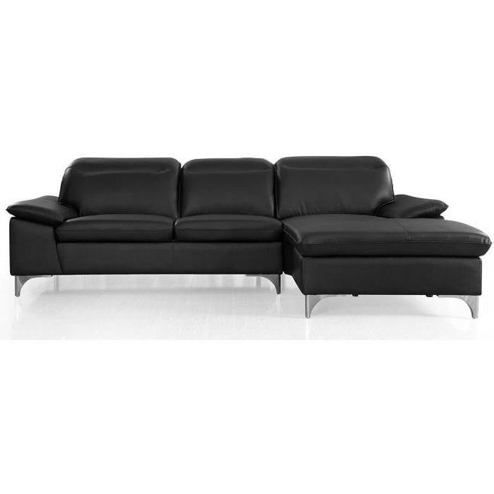 Canapé d'angle droit en cuir ALIX - Noir - Droit - Noir