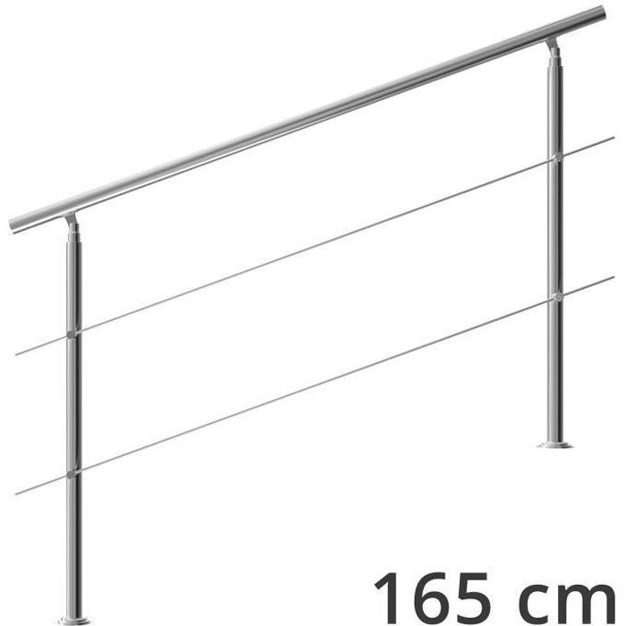 Rampe d'escalier 160 cm acier inoxydable 2 traverses main courante balustrade garde-corps aide escalier balcon intérieur extérieur