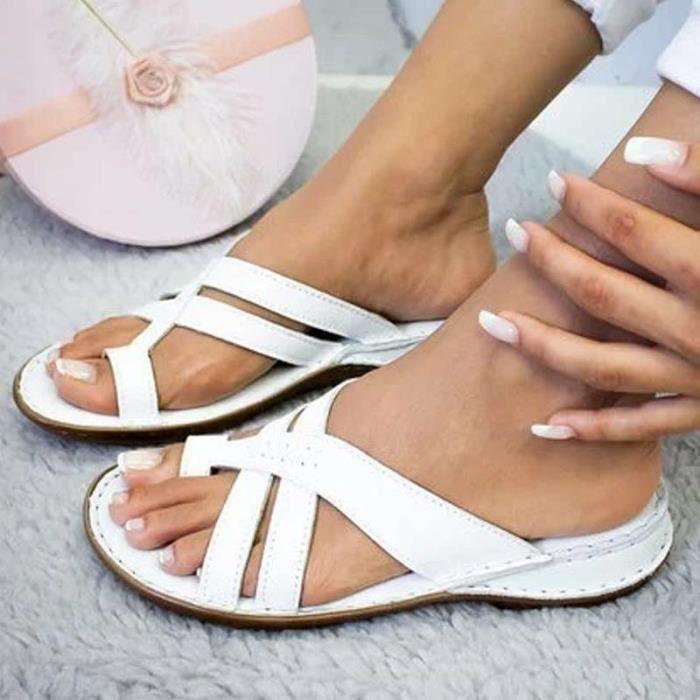 Sandales orthopédiques haut de gamme pour dames sandale de couleur unie Blanc