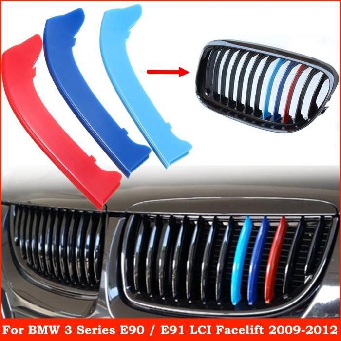 NEUFU 3Pcs Clips Bande Couverture M Couleur Kidney Grille Pour BMW 3 Series E90 E91 LCI 09-12