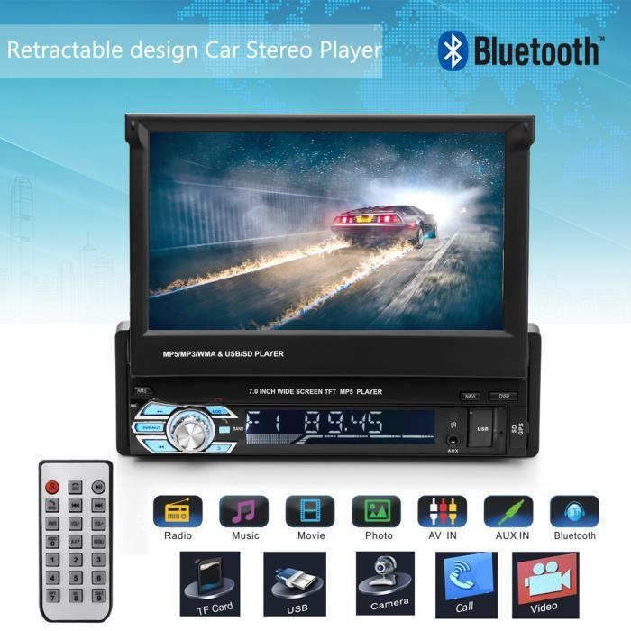 Autoradio GPS Bluetooth Navigation Voiture Stéréo Écran 7- Tactile Lecteur MP5 FM Multimédia Stéréo Caméra de Recul