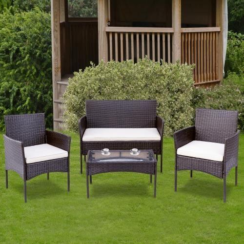 Ensemble de sièges pour 4 Ensemble de meubles de balcon Ensemble de meubles de jardin, terrasses de jardin, marron