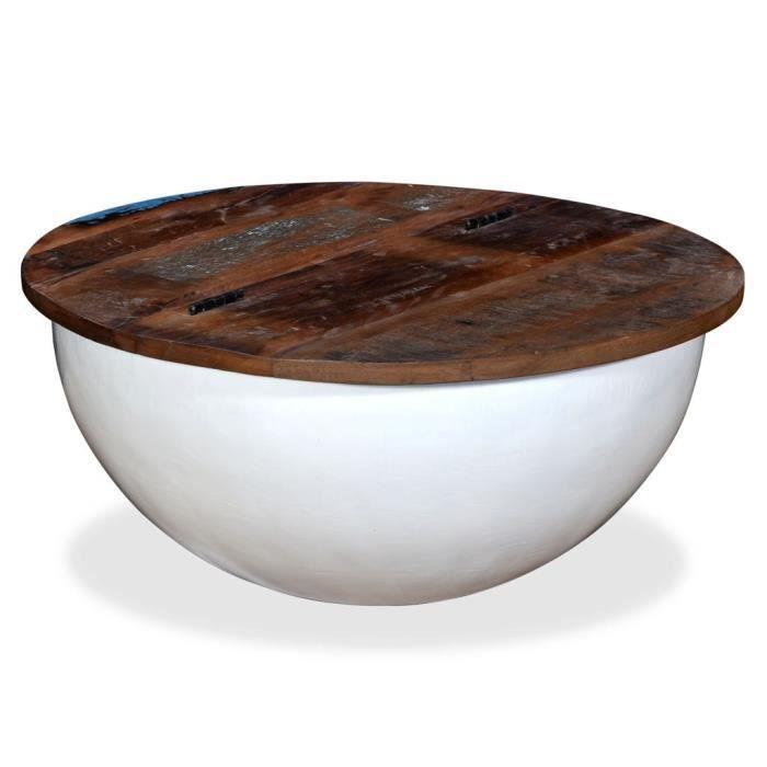 Table basse design scandinave salon contemporain Bois de récupération massif Blanc Forme de bol