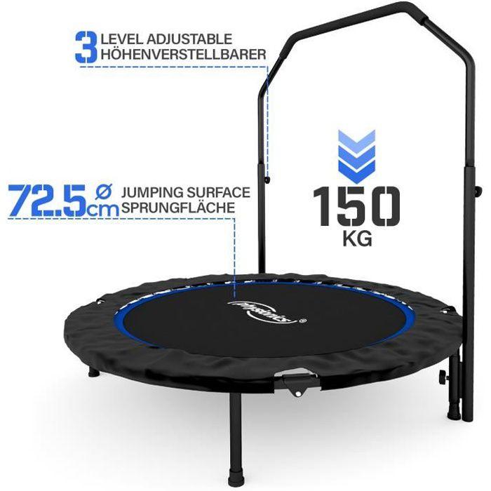 Physionics® Mini Trampoline Fitness - Pliable, Barre Réglable, Ø 101 cm, Usage Intérieur/Extérieur - Trampoline de Gym, Aérobic