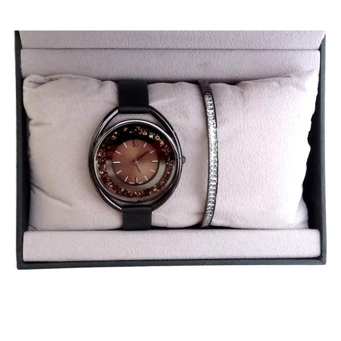 COFFRET Idée Cadeau Femme Montre + Bracelet Noir Strass Luxe Tendance Box Bijoux