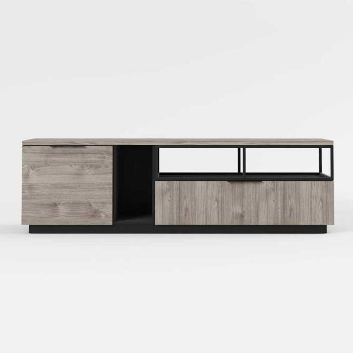 Meuble TV 1 porte 1 tiroir Bois/Métal - LEOKI - L 180 x l 45 x H 53