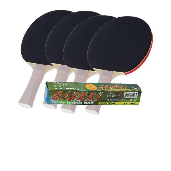 Lot de 4 raquettes noires et 6 balles de ping pong