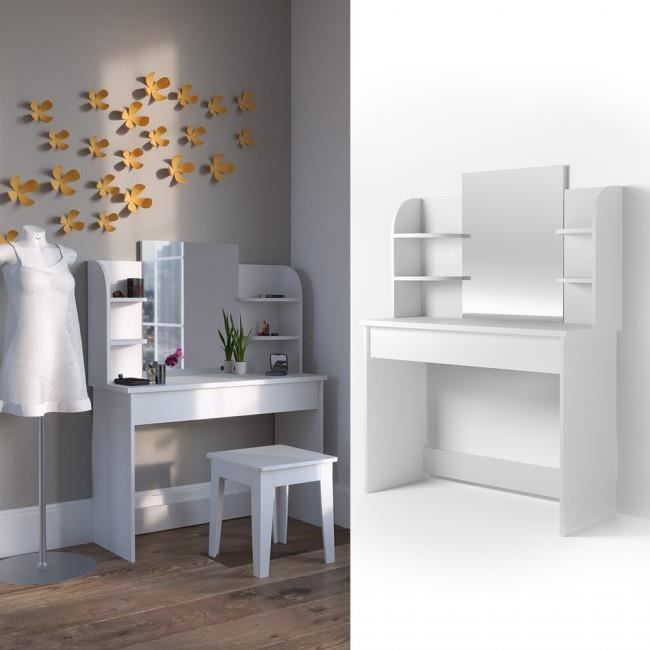 coiffeuse moderne et blanche grand miroir tiroir giulia achat vente coiffeuse coiffeuse. Black Bedroom Furniture Sets. Home Design Ideas