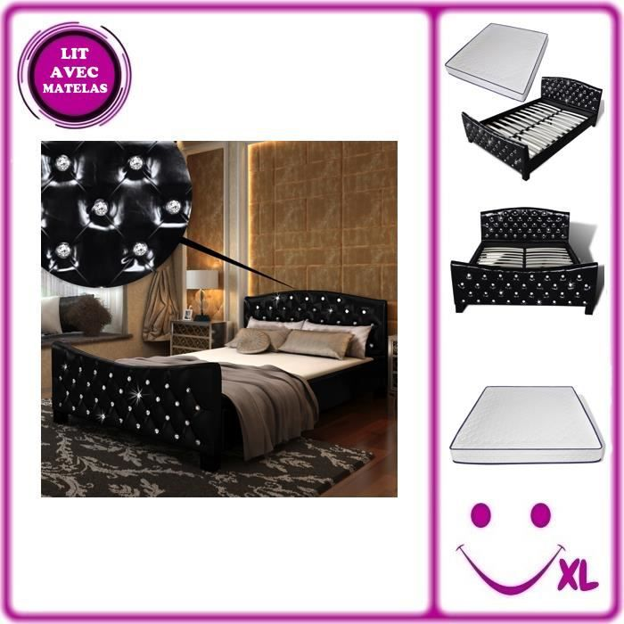 lit en simili cuir noir matelas m moire de forme 140x200cm achat vente chambre compl te. Black Bedroom Furniture Sets. Home Design Ideas