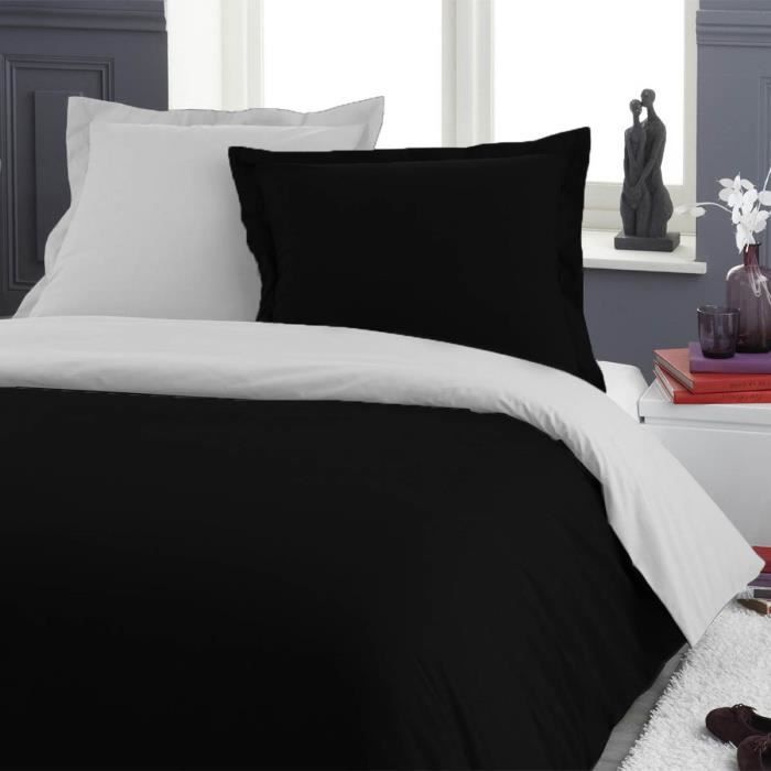 housse de couette bicolore noir blanc 220x240cm 2 taies. Black Bedroom Furniture Sets. Home Design Ideas