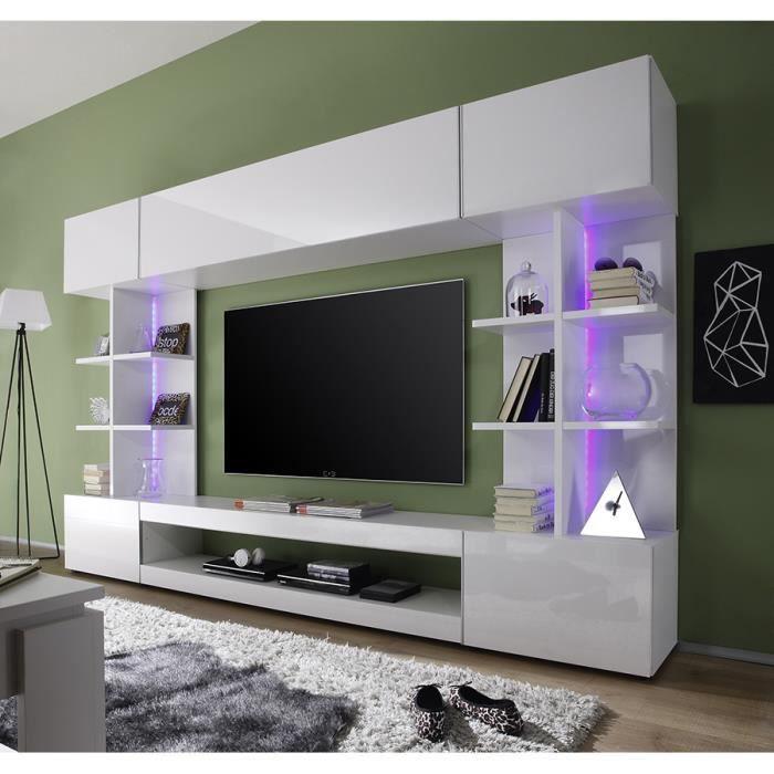 Ensemble Meuble Tv Blanc Laque Design Pietro L 261 X P 37 X H 168 Cm Blanc Achat Vente Meuble Tv Ensemble Meuble Tv Blanc Cdiscount