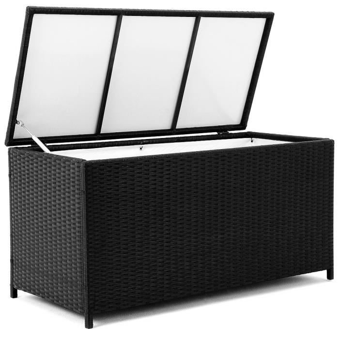 coffre de rangement polyrotin malle noire jardin achat. Black Bedroom Furniture Sets. Home Design Ideas
