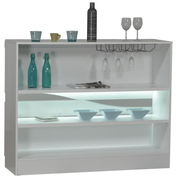 Meuble Bar Blanc Laqu Design Led Achat Vente Meuble