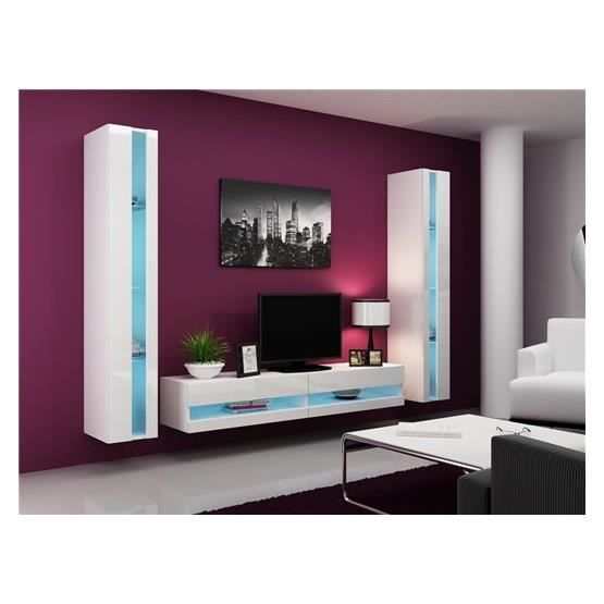Ensemble meuble tv mural olermo blanc achat vente for Ensemble meuble tv blanc