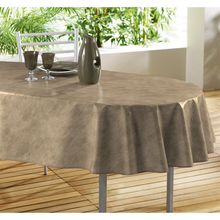 nappe pvc ovale 240x140 beton cire chamois achat vente nappe de table cdiscount. Black Bedroom Furniture Sets. Home Design Ideas