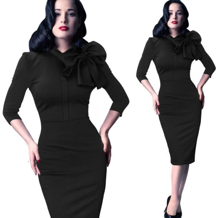 Robe de couleur Slim Pure Women With Big bowkno...
