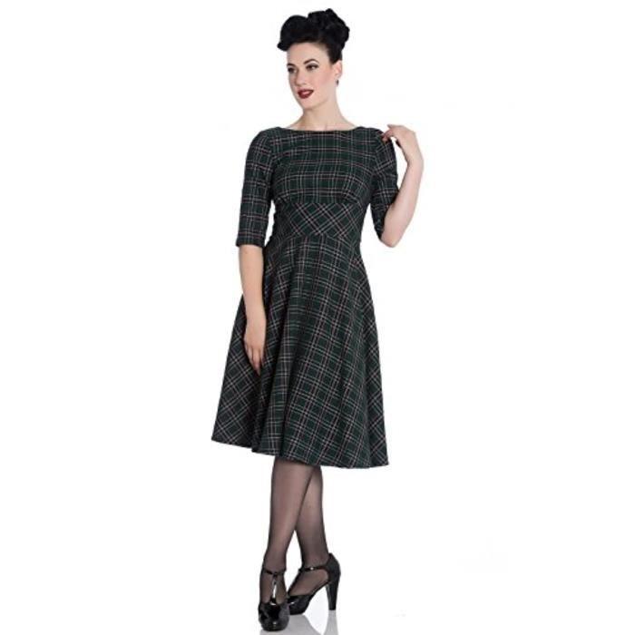 Robe Kvsq2 Annees 40 Annees 50 Pin Up Wartime Dress Peebles Green Tartan Taille 44 Noir Achat Vente Robe Bientot Le Black Friday Cdiscount
