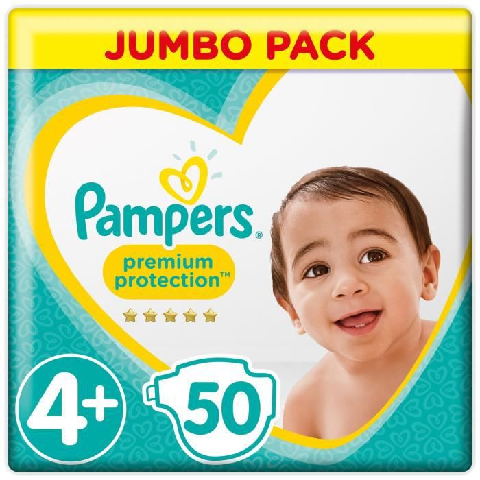 COUCHE PAMPERS Premium Protection Taille 4+ 9-18 kg - 50