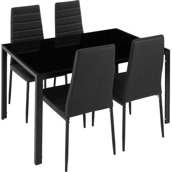 TABLE À MANGER COMPLÈTE TECTAKE Set Table à manger + 4 Chaises de Salle à