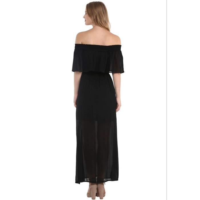 Womens Black Off Shoulder Maxi Dress With Elasticated Neckline A21QD Taille-34