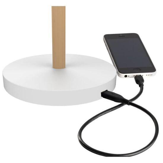 Port USB 44 x 46 x 18cm Blanc//H/être UNILUX Vicky Lampe de Bureau LED 9W 900 Lumens /à Variation dIntensit/é lumineuse