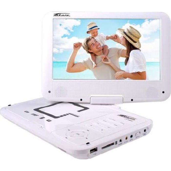 TAKARA-VR149W Lecteur DVD portable écran 9'' blanc