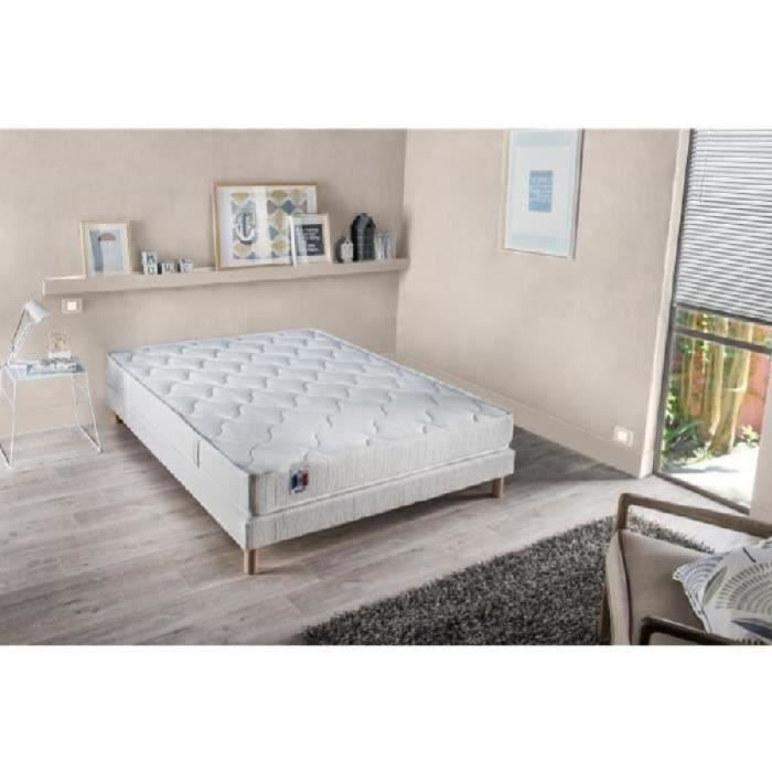 CONFORT DESIGN Ensemble matelas + sommier 140 x 190 - Latex - 16 cm - Equilibré