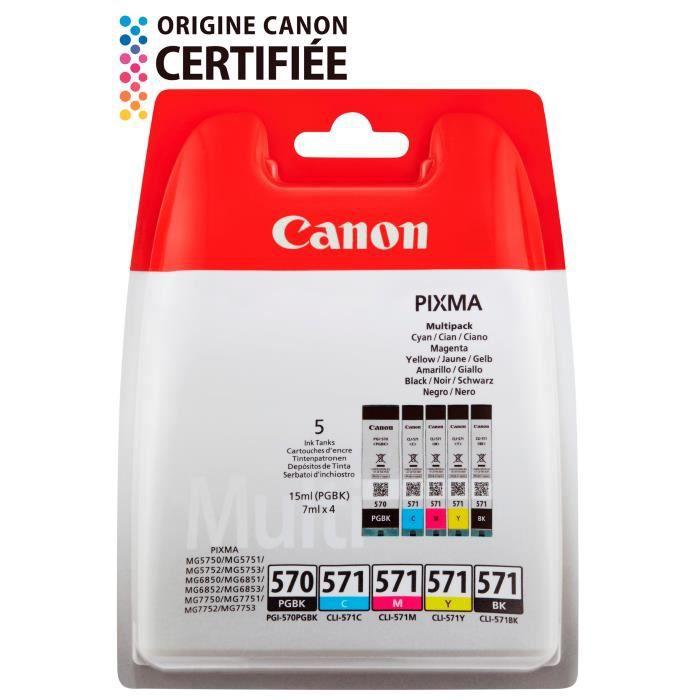 Canon Pack 5 Cartouches couleurs Cli 571 Bk/C/M/Y + Pgi 570 Pgbk 4 couleurs + noir pigmenté