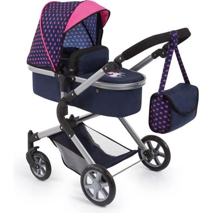 BAYER Landau pour poupée Neo Star licorne bleu et rose avec sac à bandoulière et panier d'achat intégré - convertible poussette