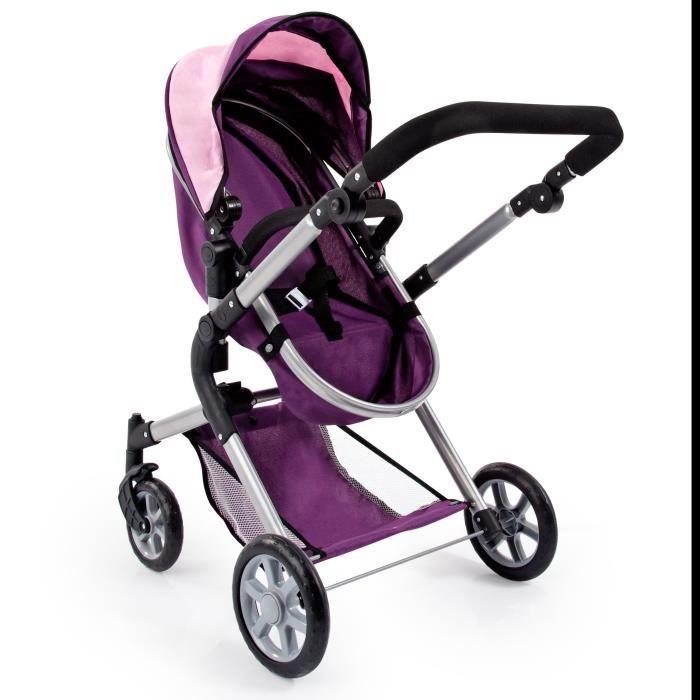 BAYER Design Landau pour poupée Neo Star prune et rose violet avec sac à bandoulière et panier d'achat intégré réglable - convertibl