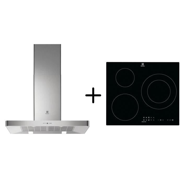 ELECTROLUX EFB90463OX - Hotte décorative murale - Hotte pilotée par la table - Inox + CIT60331CK - Table induction- Pack encastrable