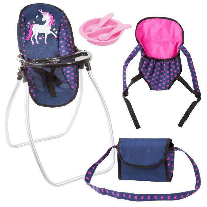 BAYER Set Accessoires pour poupée licorne bleu et rose vif