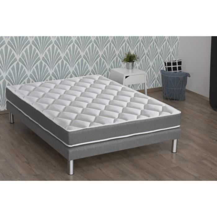 CONFORT DESIGN Ensemble matelas + sommier 140 x 190 - Mousse mémoire et mousse HR - 19 cm - Mi-ferme - HERO
