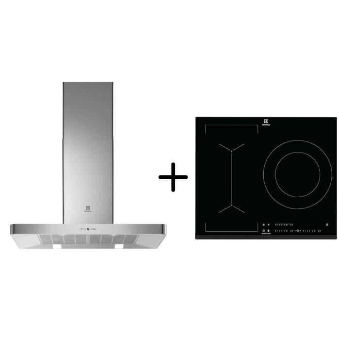 ELECTROLUX EFB90463OX - Hotte décorative murale - Hotte pilotée par la table - A - Inox + LIV633 - Table induction Pack encastrable