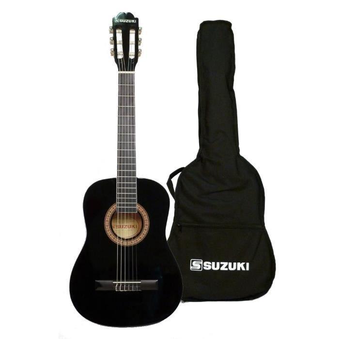 SUZUKI Guitare classique 4/4 pour adulte finition noire avec housse de protection