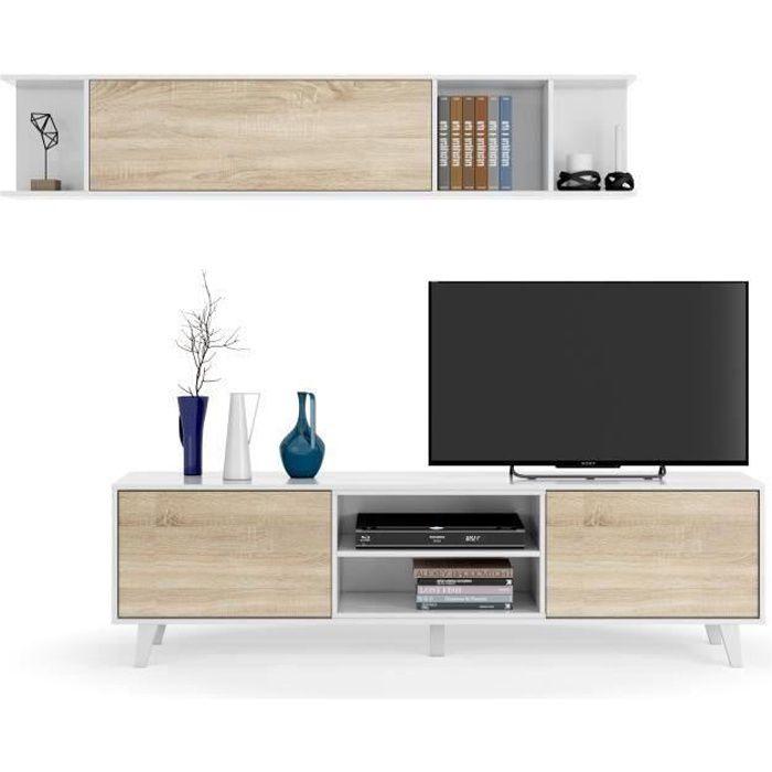 ZAIKEN PLUS Meuble TV scandinave blanc brillant et décor chêne - L 180 cm